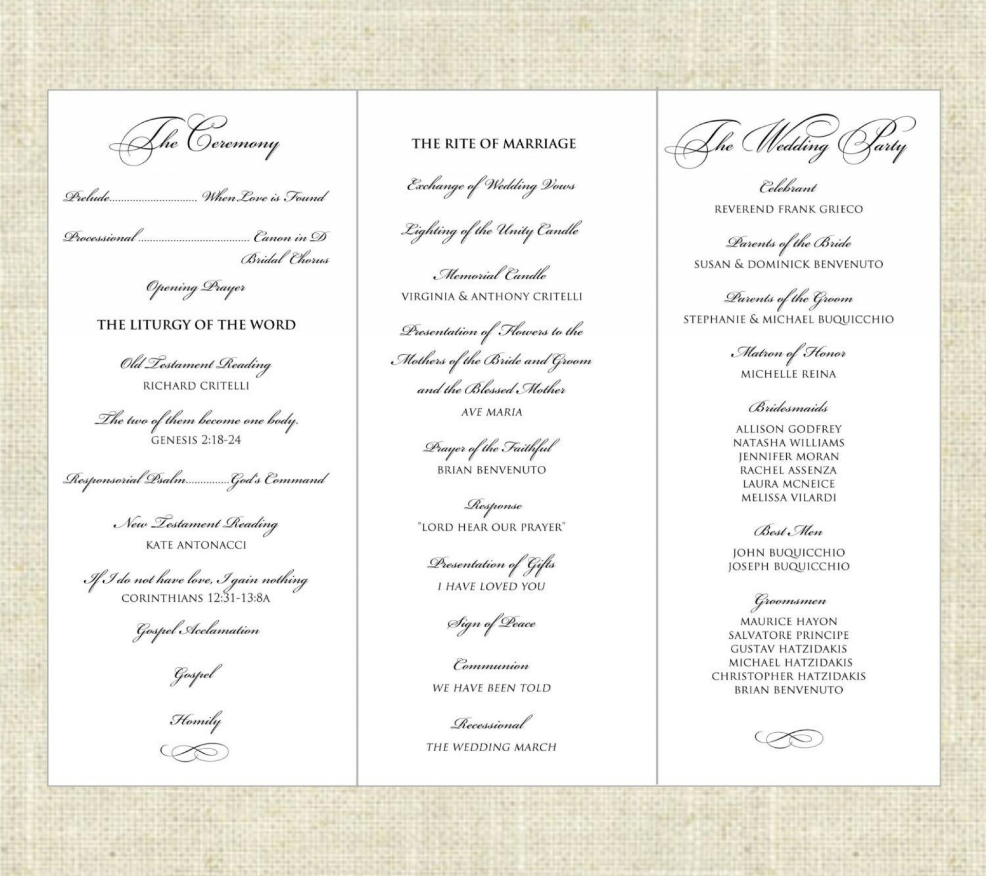 003 Imposing Wedding Program Template Word Sample  Catholic Mas Wording Idea Example Simple1920