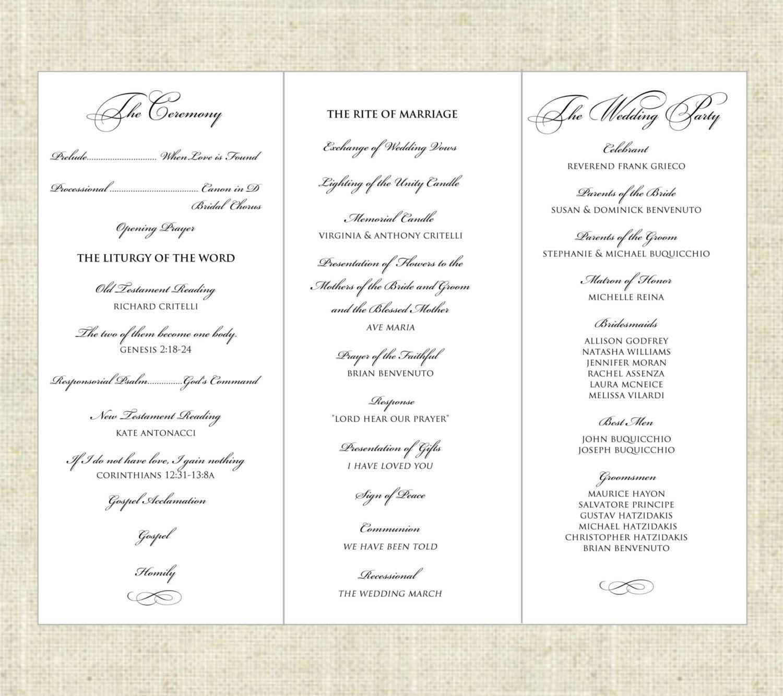 003 Imposing Wedding Program Template Word Sample  Catholic Mas Wording Idea Example SimpleFull