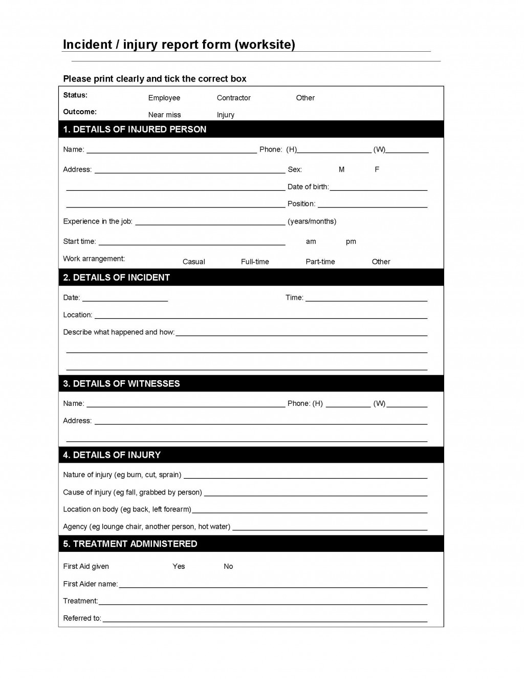 003 Imposing Workplace Incident Report Form Ontario Sample  ViolenceLarge