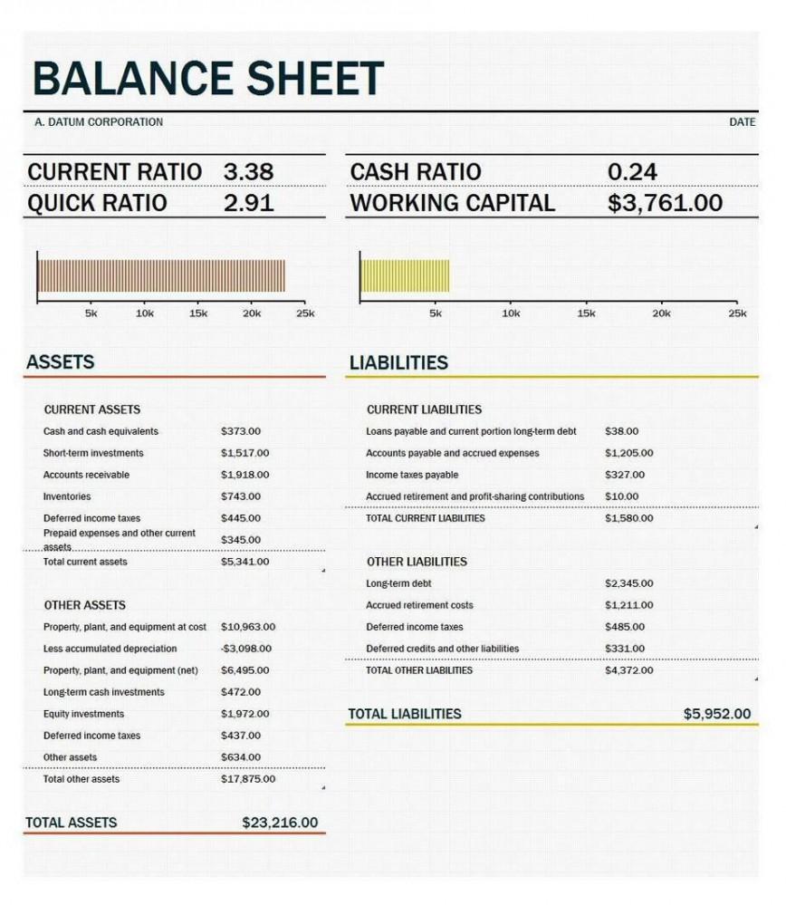 Balance Sheet Excel Template Addictionary