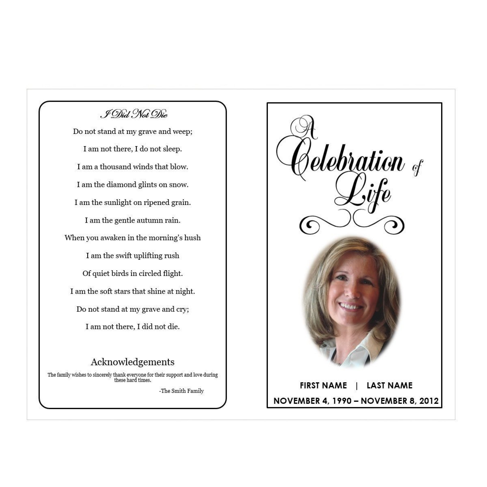 003 Impressive Celebration Of Life Word Template Free Highest Quality  Program1920