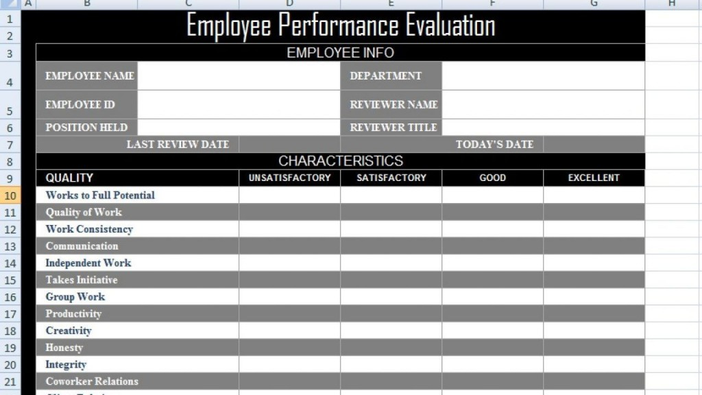 003 Impressive Employee Evaluation Form Template Photo  Word Self FreeLarge