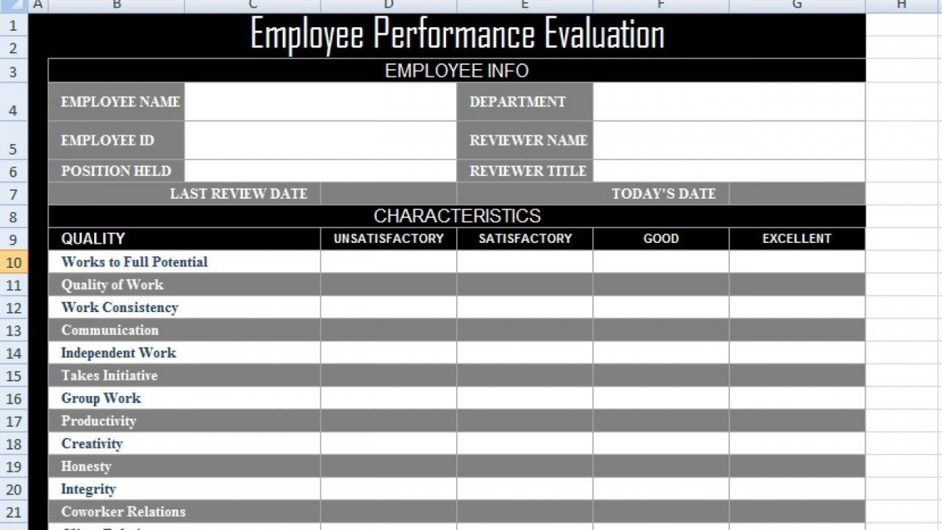 003 Impressive Employee Evaluation Form Template Photo  Word Self Free1920