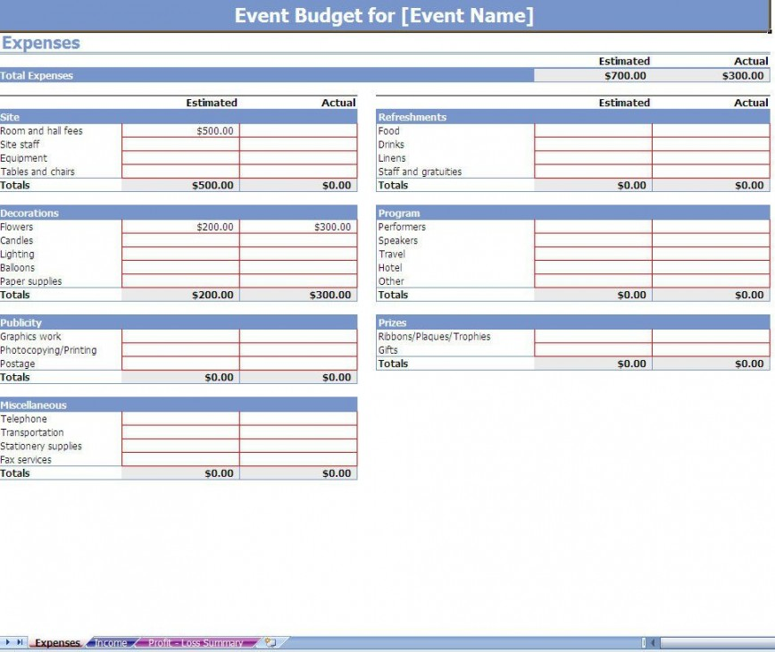 003 Impressive Event Budget Template Excel Idea  Download 2010 Planner868
