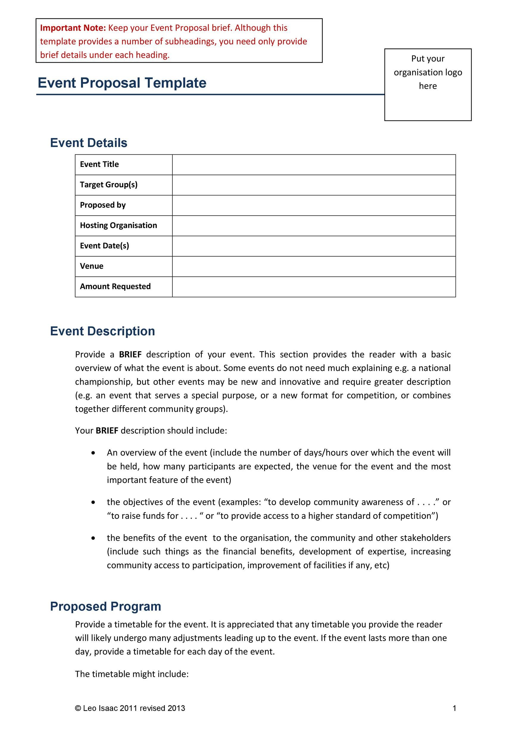 003 Impressive Event Planning Proposal Template High Definition  Example Pdf WordFull