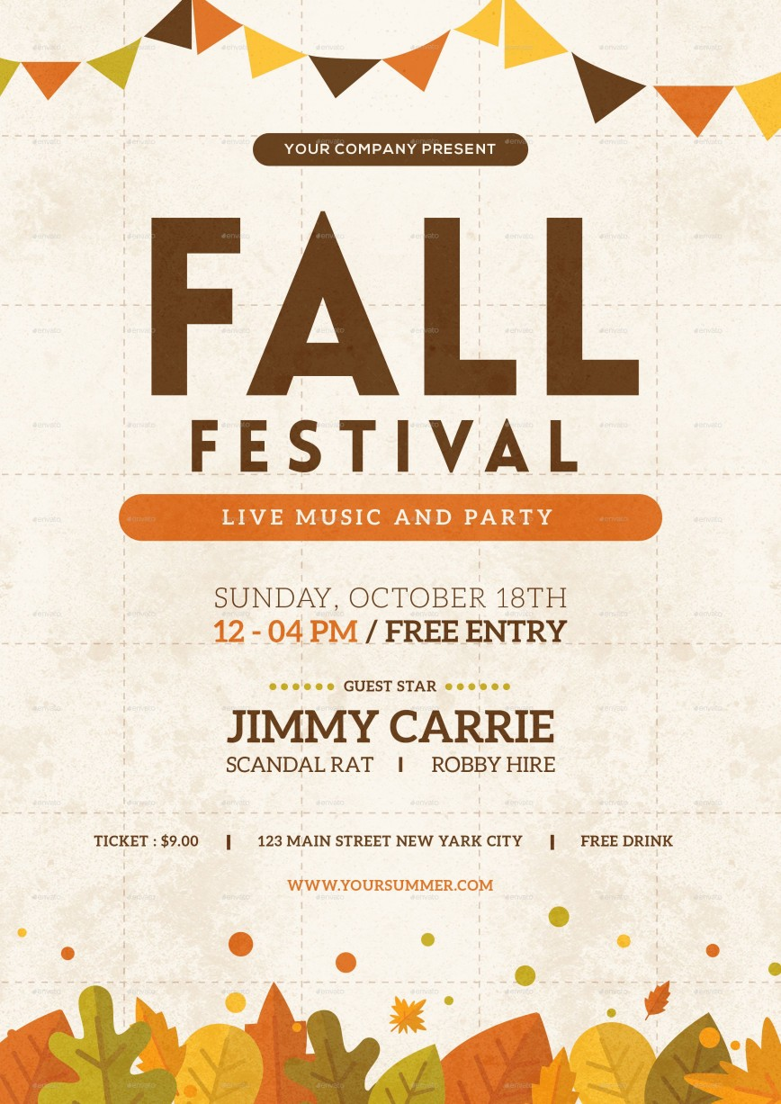 003 Impressive Fall Festival Flyer Template Picture  Free Word