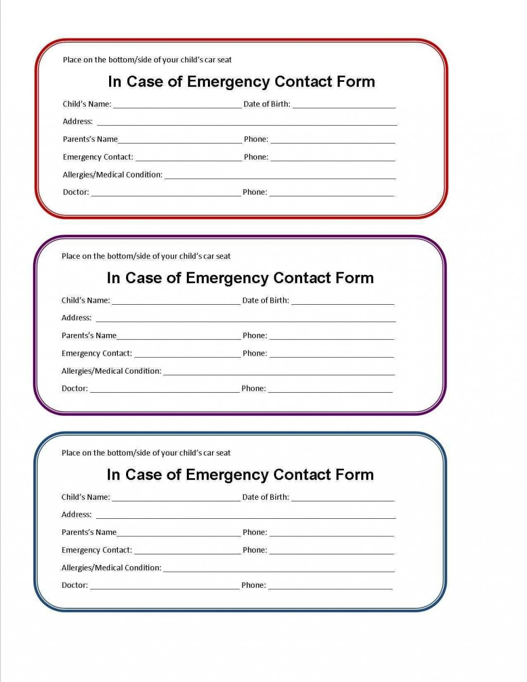 003 Impressive Free Emergency Contact Card Template Uk Concept Large