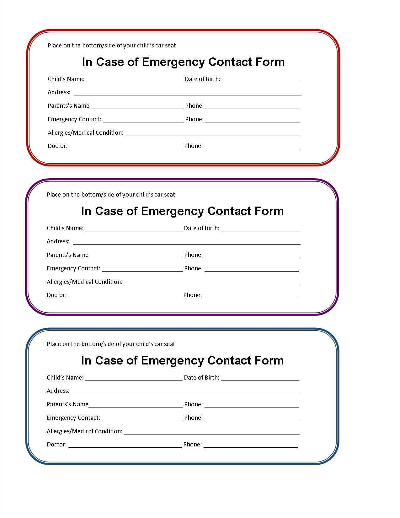 003 Impressive Free Emergency Contact Card Template Uk Concept Full