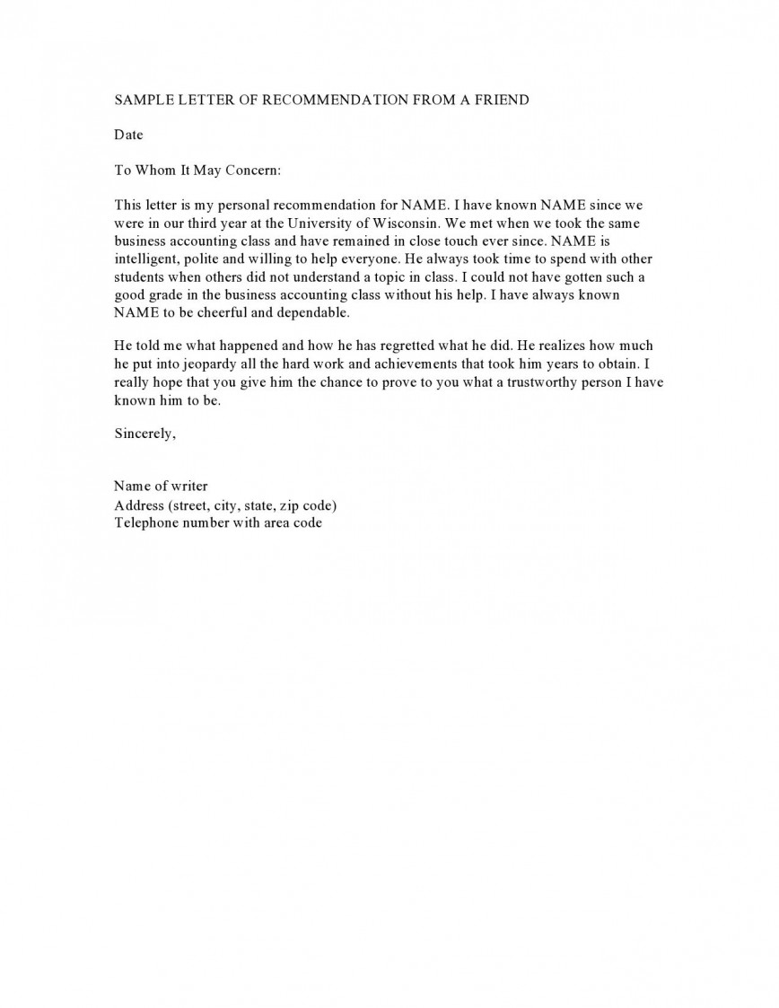 003 Impressive Free Reference Letter Template For Friend Inspiration 868