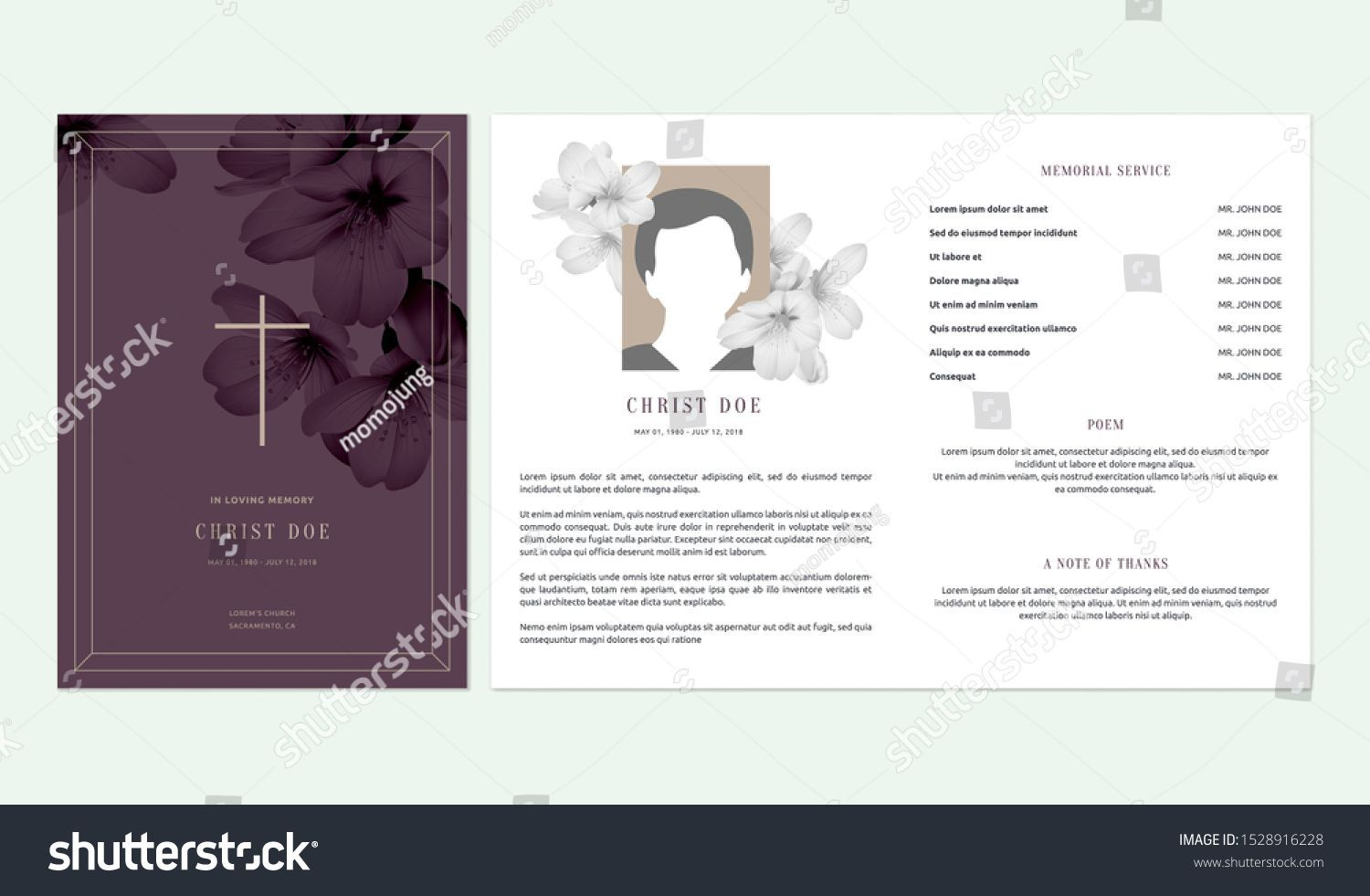 003 Impressive Funeral Invitation Template Free Picture  Memorial Service Card ReceptionFull