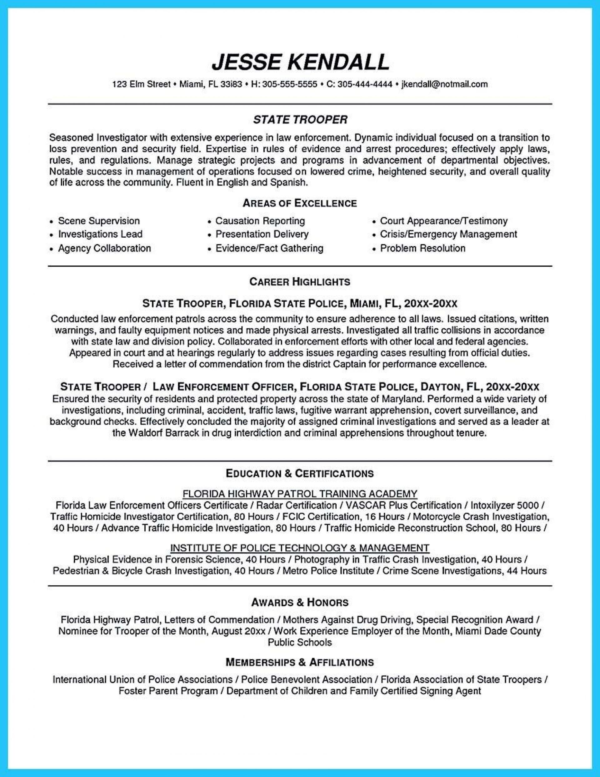 003 Impressive Law Enforcement Resume Template Sample  Microsoft Word Federal1920