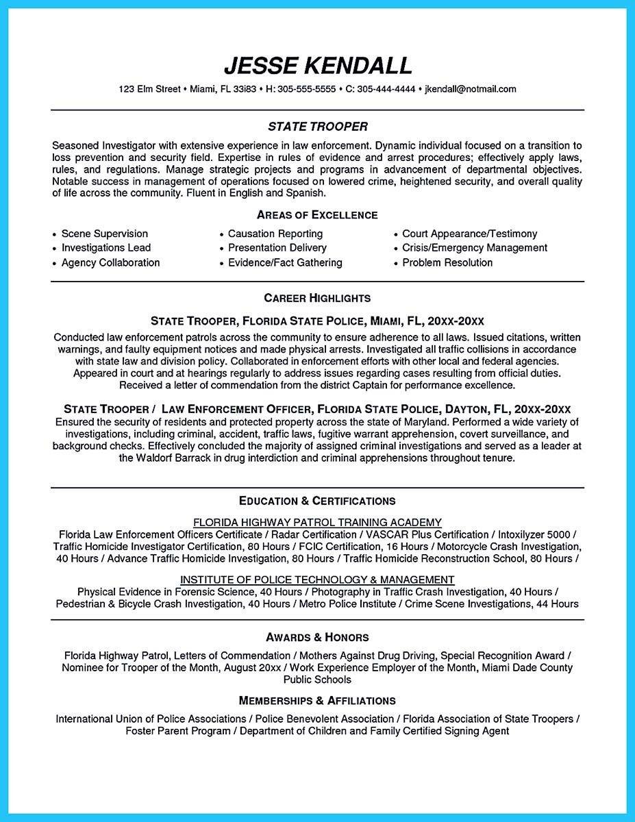 003 Impressive Law Enforcement Resume Template Sample  Microsoft Word FederalFull