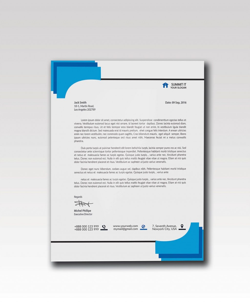 003 Impressive Letterhead Template Free Download Psd Sample  Corporate A4Large