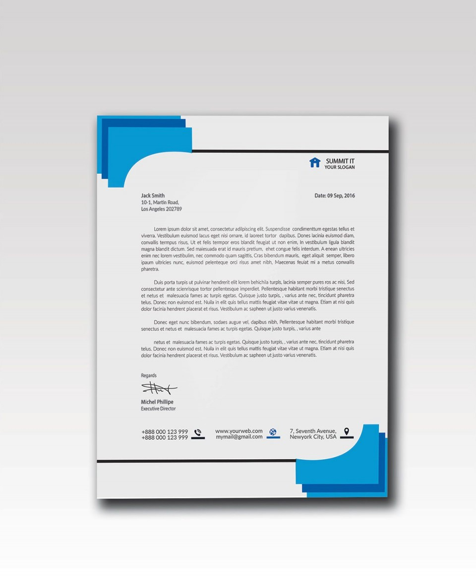 003 Impressive Letterhead Template Free Download Psd Sample  Corporate A4960