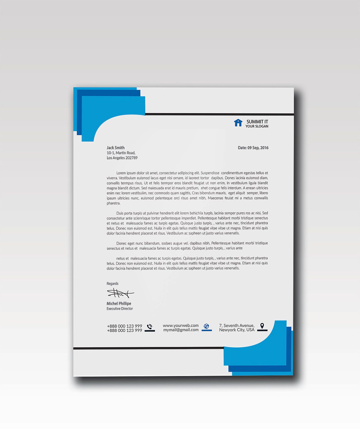 003 Impressive Letterhead Template Free Download Psd Sample  A4 CompanyFull