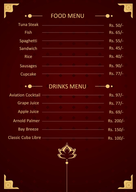 003 Impressive Menu Card Template Free Download Example  Indian Restaurant Design Cafe1920