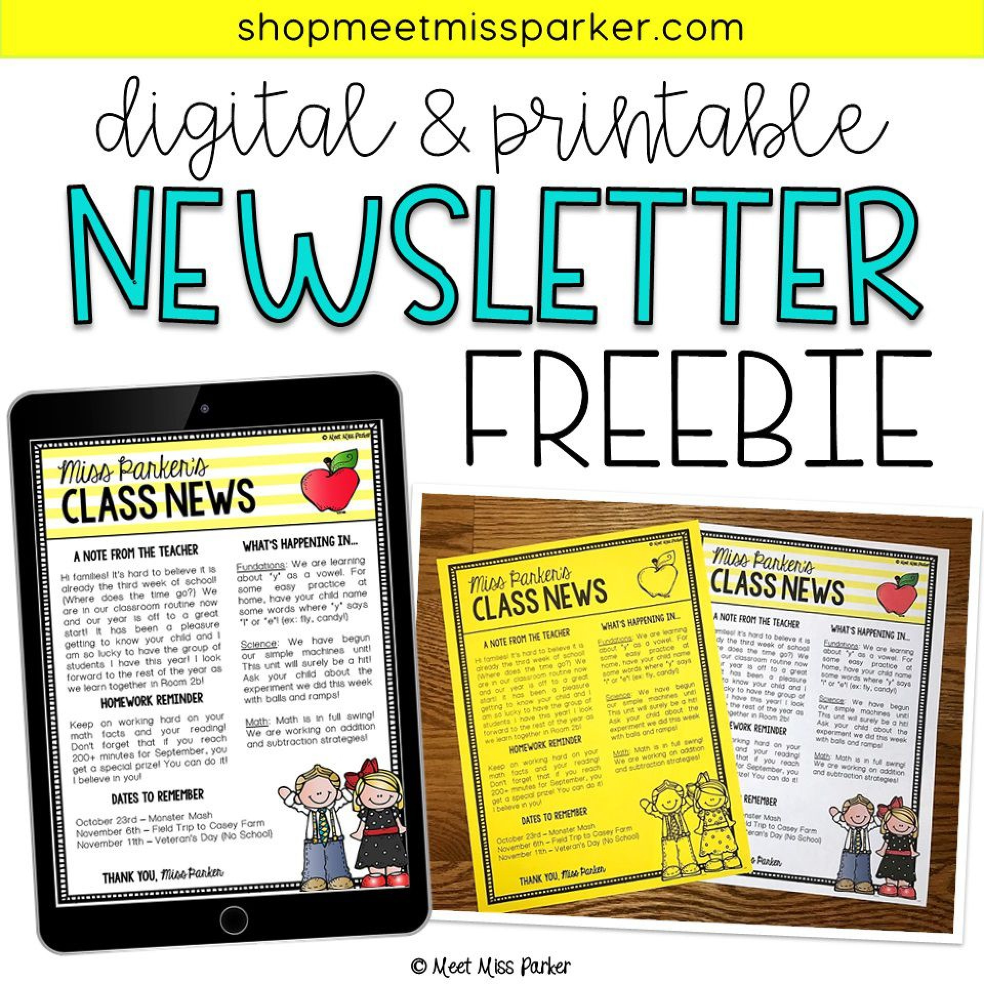 003 Impressive Newsletter Template For Teacher High Def  Teachers To Parent Free Printable Digital1920