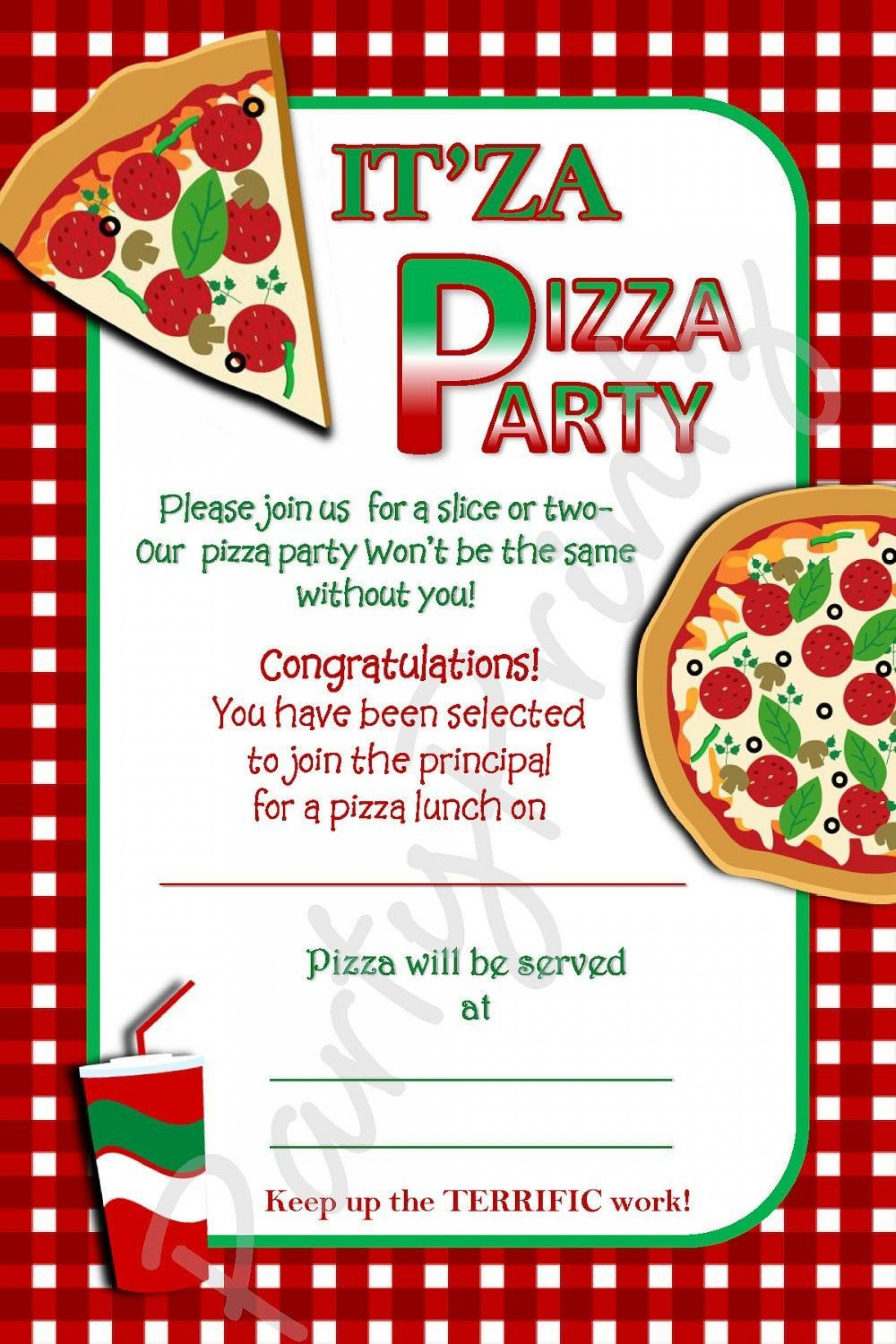 003 Impressive Pizza Party Invitation Template Free Design  Printable1920