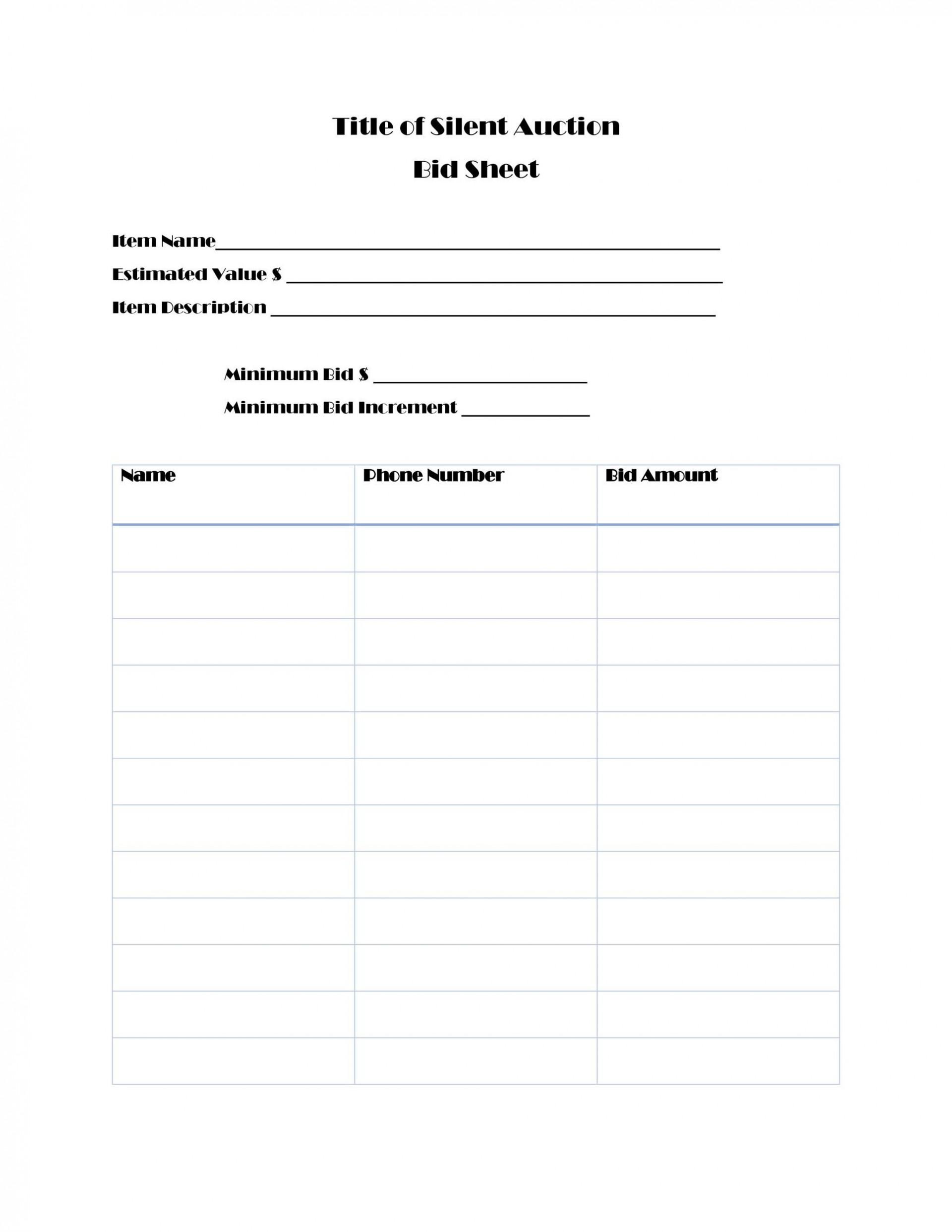 003 Impressive Sample Silent Auction Bid Sheet Free Photo  Printable Template Download1920