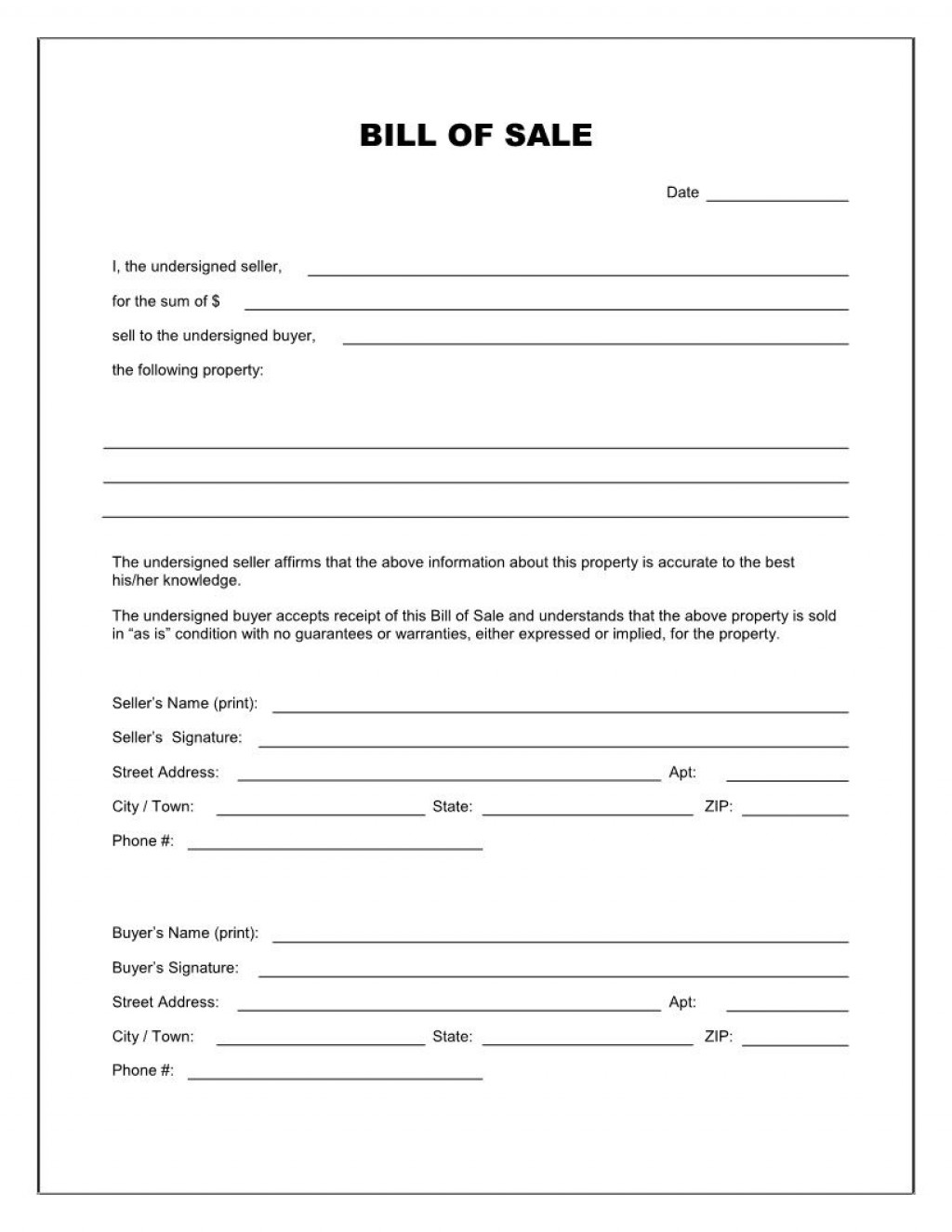 003 Impressive Template For Bill Of Sale Picture  Example Trailer Free Mobile Home Used CarLarge