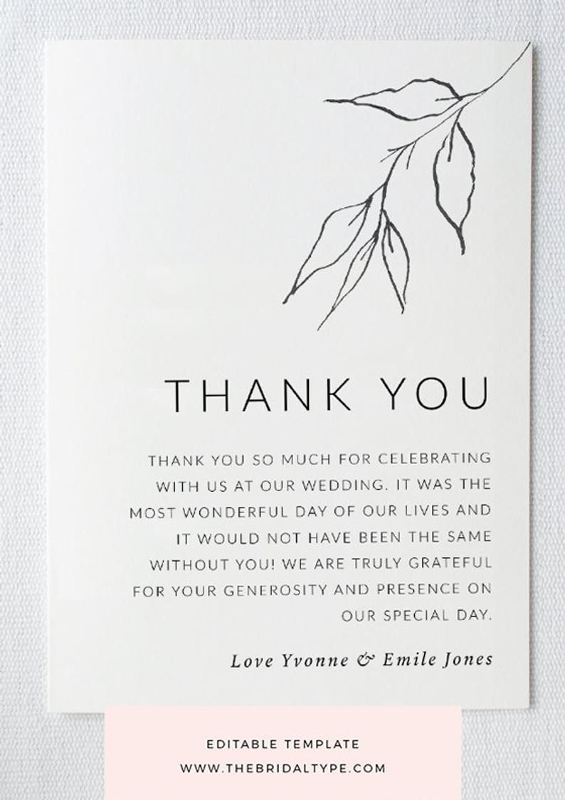 003 Impressive Wedding Thank You Note Template Concept  Templates Shower Card Etsy Bridal FormatFull