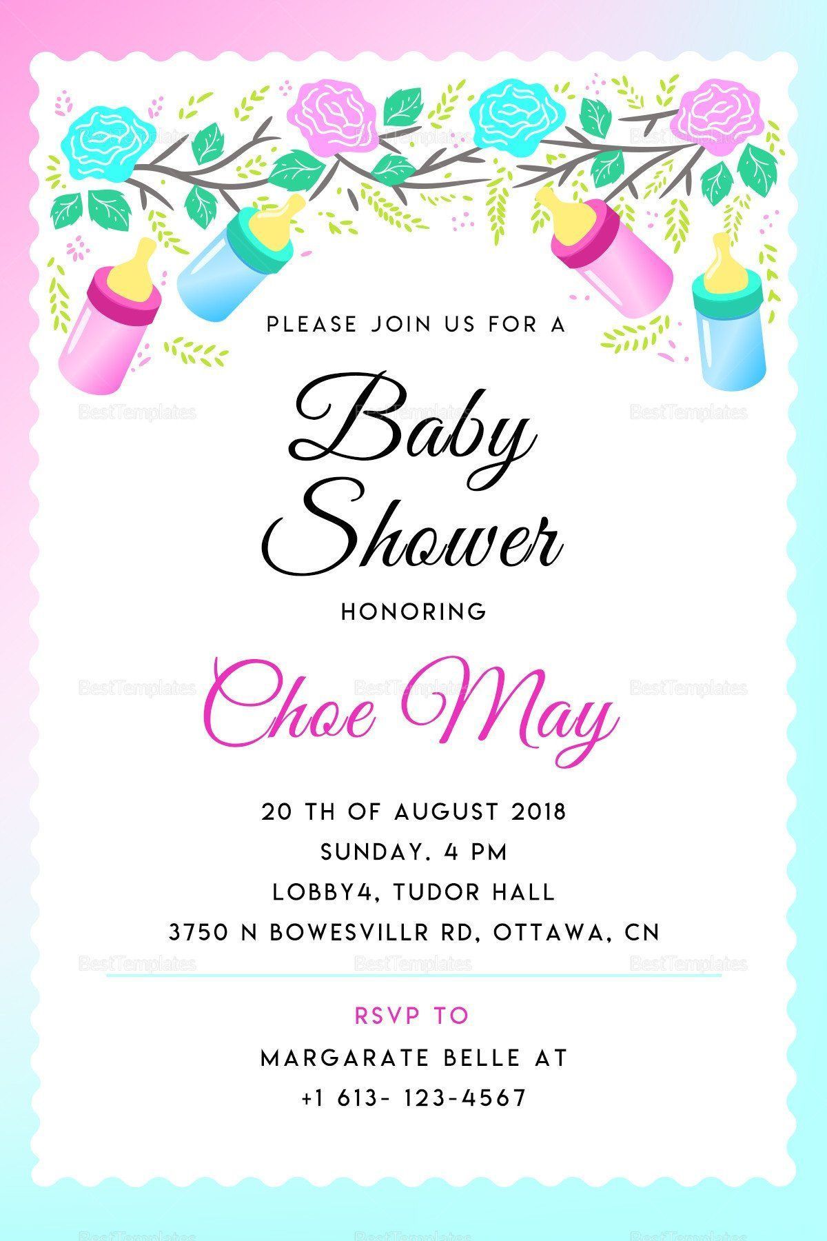 003 Incredible Baby Shower Invite Template Word Sample  Work Invitation Wording Format In M Free MicrosoftFull