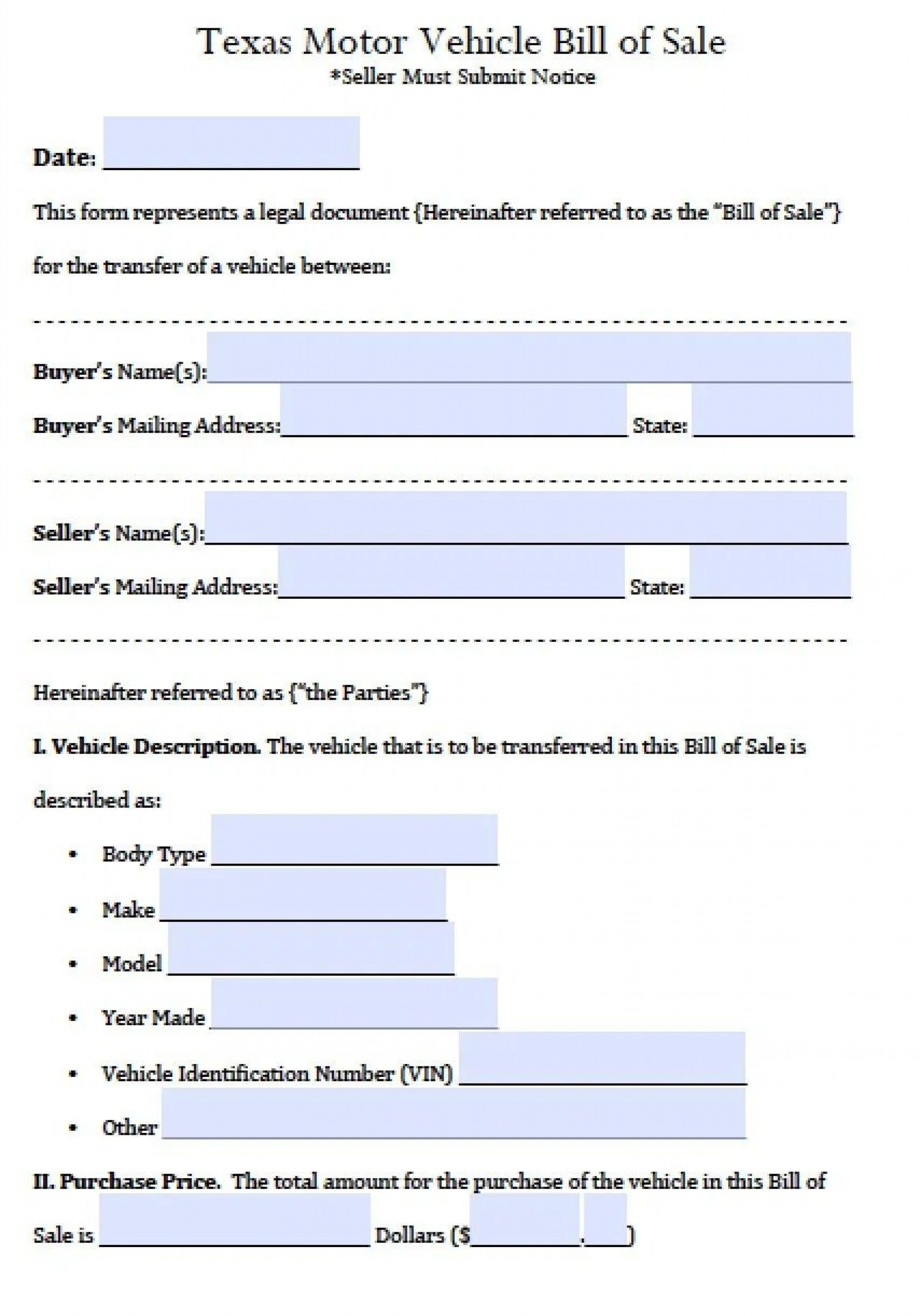 003 Incredible Bill Of Sale Texa Template Inspiration  Motor Vehicle Form Free Printable1920
