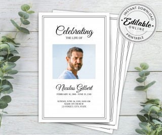 003 Incredible Free Editable Celebration Of Life Program Template High Def 320