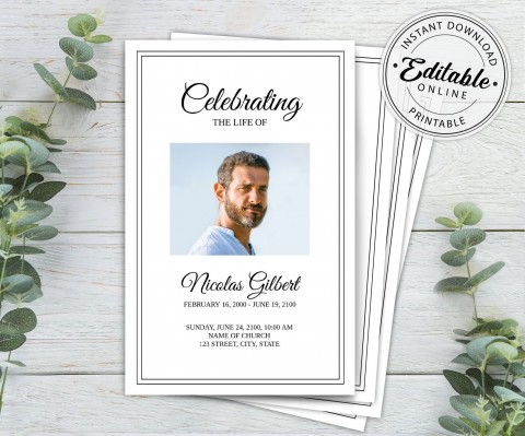 003 Incredible Free Editable Celebration Of Life Program Template High Def 480