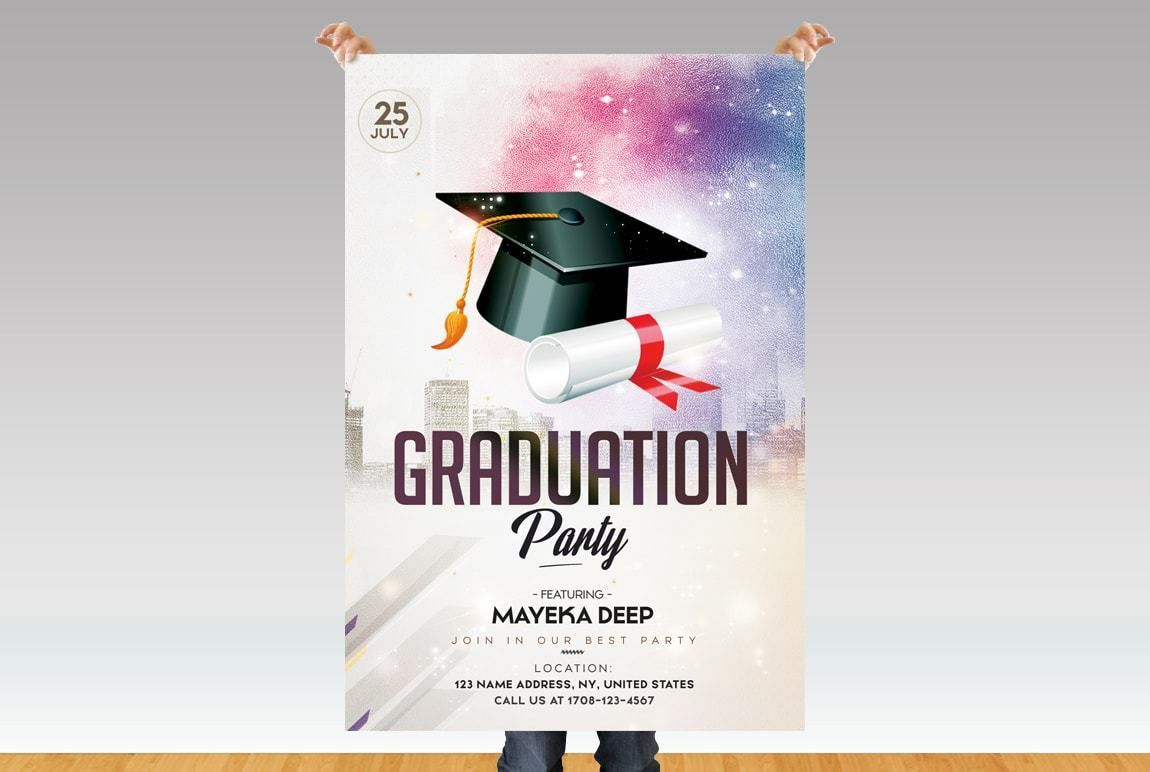 003 Incredible Graduation Party Flyer Template Free Psd Image Full