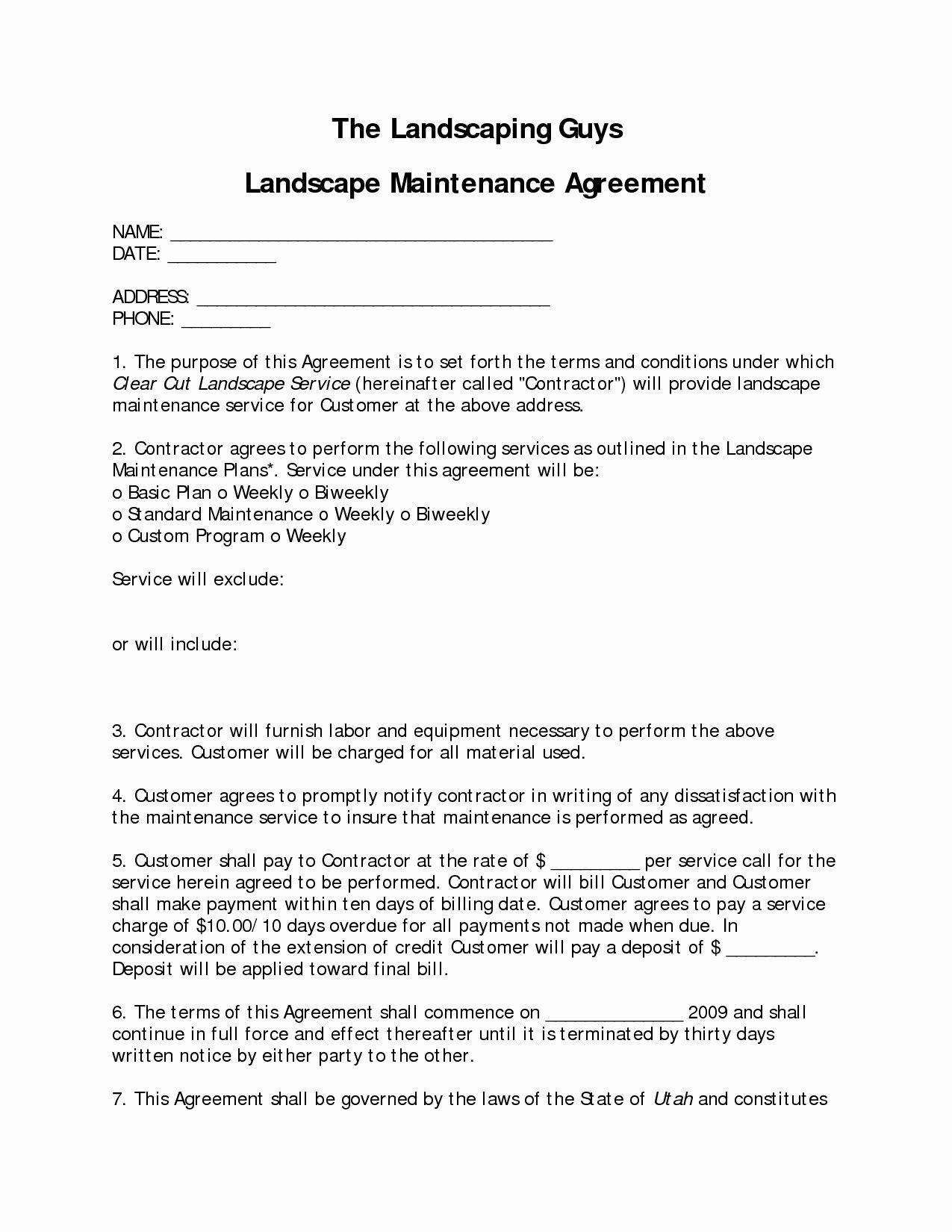 Landscape Maintenance Contract Template Addictionary