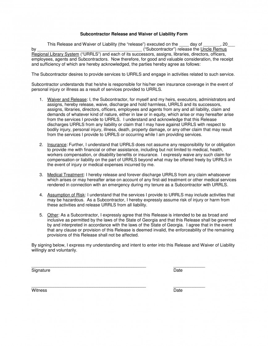003 Incredible Liability Release Form Template Picture  General Church
