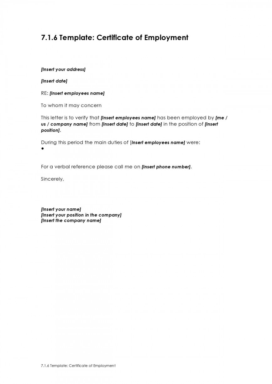 003 Incredible Proof Of Employment Letter Template Canada Idea  Confirmation868