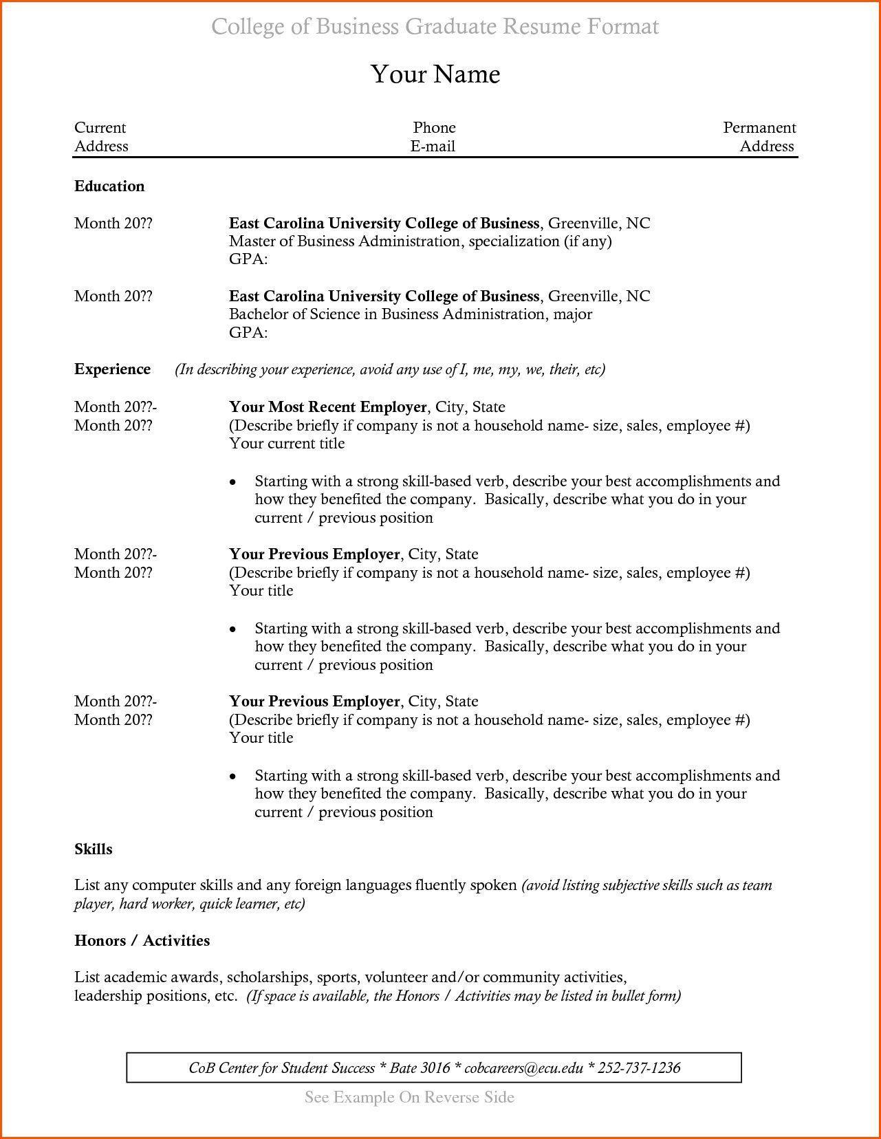 003 Incredible Recent College Graduate Resume Template Sample  WordFull