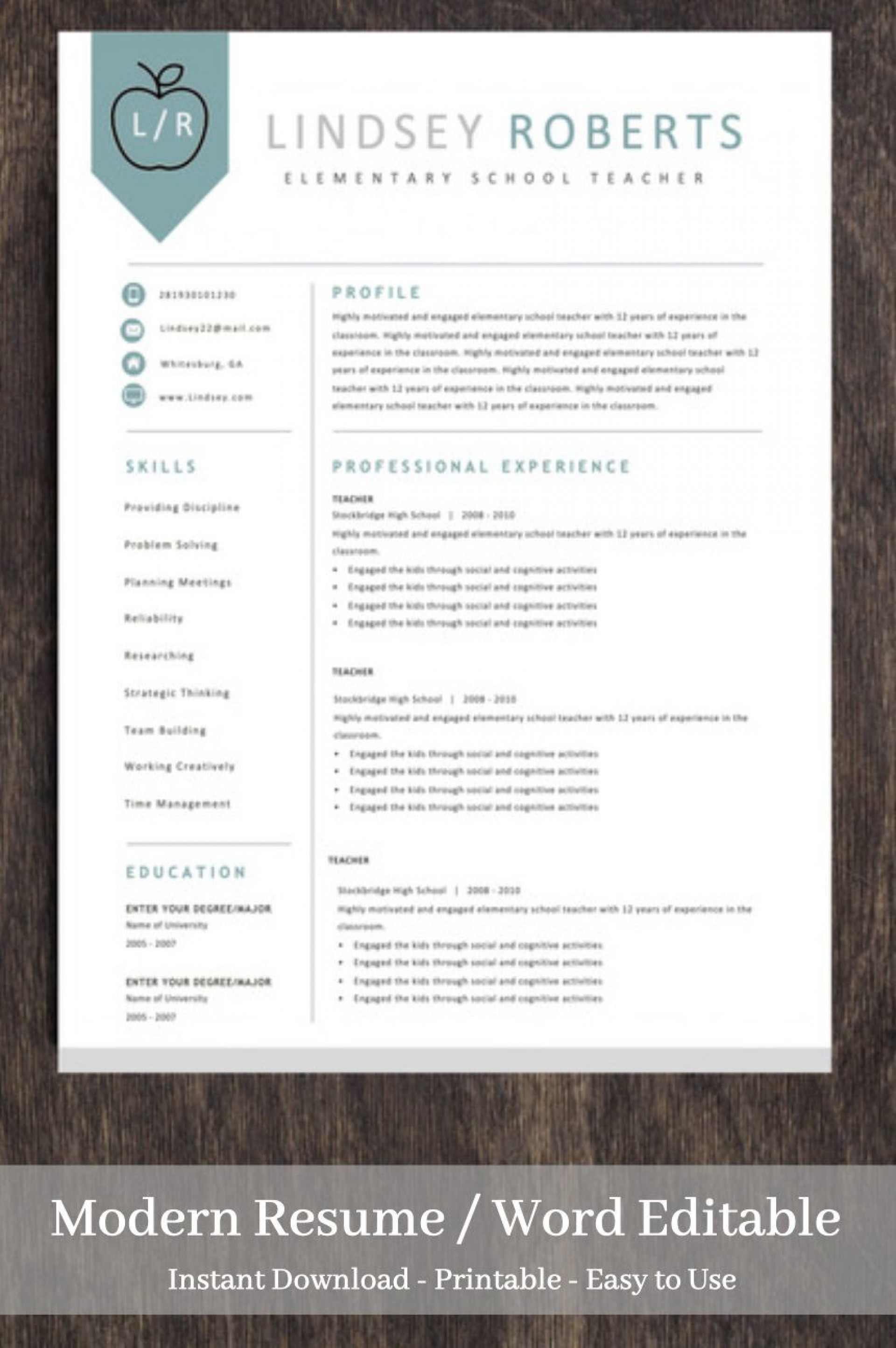 003 Incredible Teacher Resume Template Free Picture  Cv Word Download Editable Format Doc1920