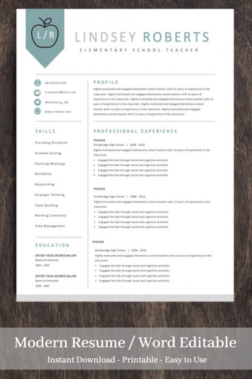 003 Incredible Teacher Resume Template Free Picture  Editable Download Word Fresher Format Doc