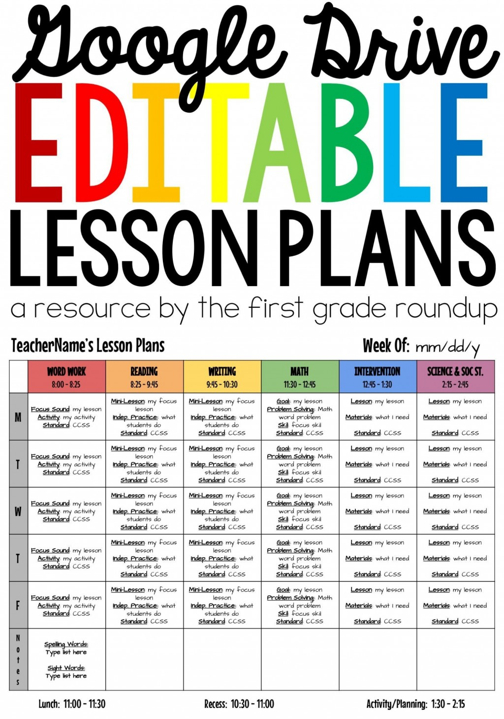 003 Incredible Weekly Lesson Plan Template Google Doc Sample  Docs 5e SimpleLarge