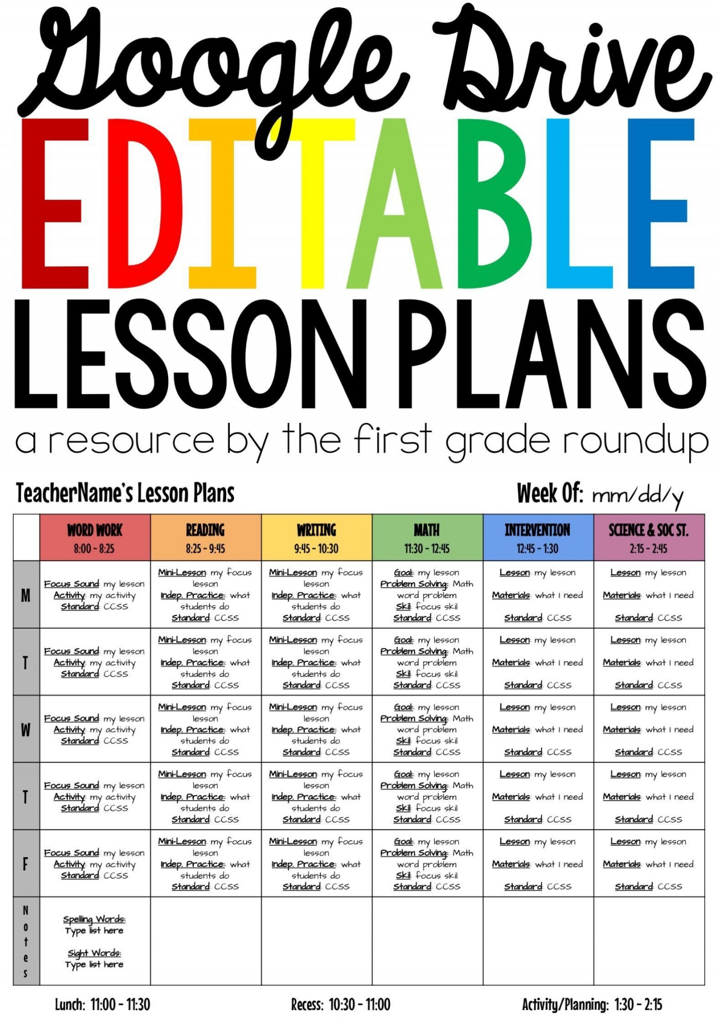 003 Incredible Weekly Lesson Plan Template Google Doc Sample  Ubd Siop1400