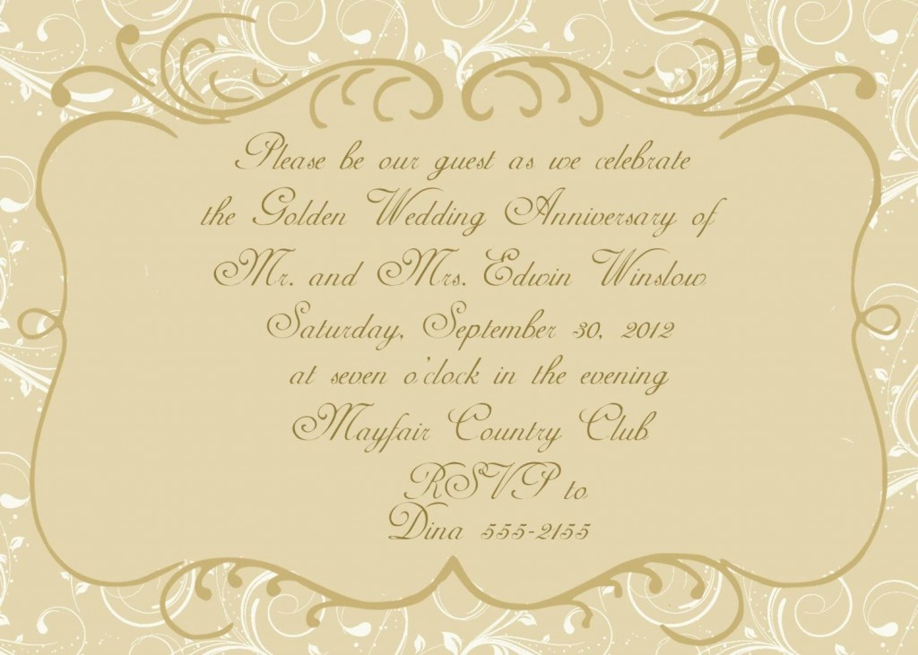 003 Magnificent 50th Wedding Anniversary Invitation Card Template Image  Templates SampleLarge