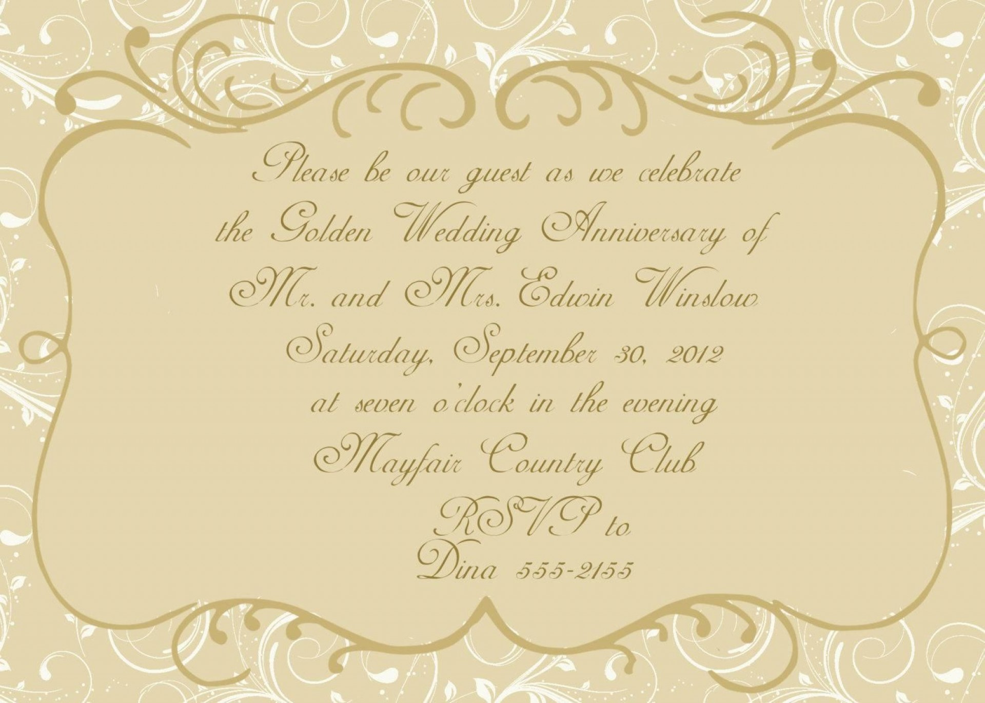 003 Magnificent 50th Wedding Anniversary Invitation Card Template Image  Templates Sample1920