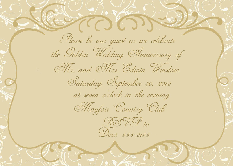 003 Magnificent 50th Wedding Anniversary Invitation Card Template Image  Templates SampleFull