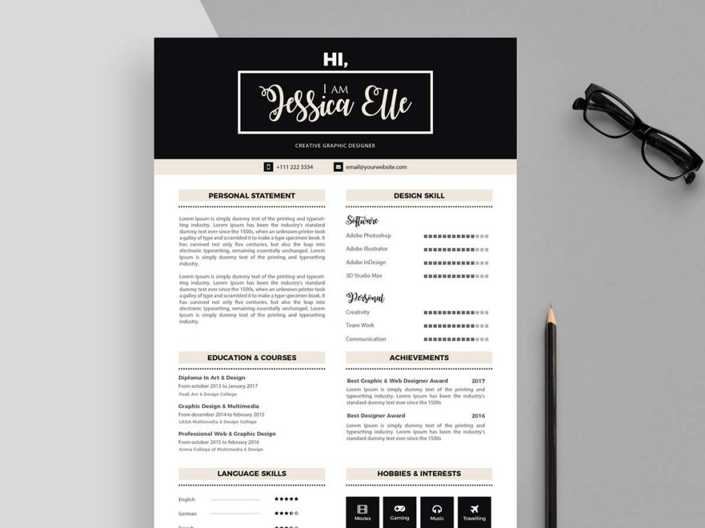 003 Magnificent Adobe Photoshop Resume Template Free Download High Definition Large