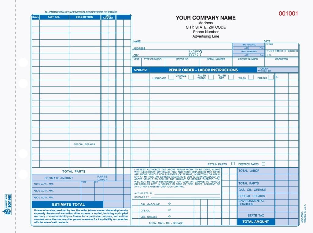003 Magnificent Automotive Repair Invoice Template Sample  Free Auto Pdf Car FormLarge