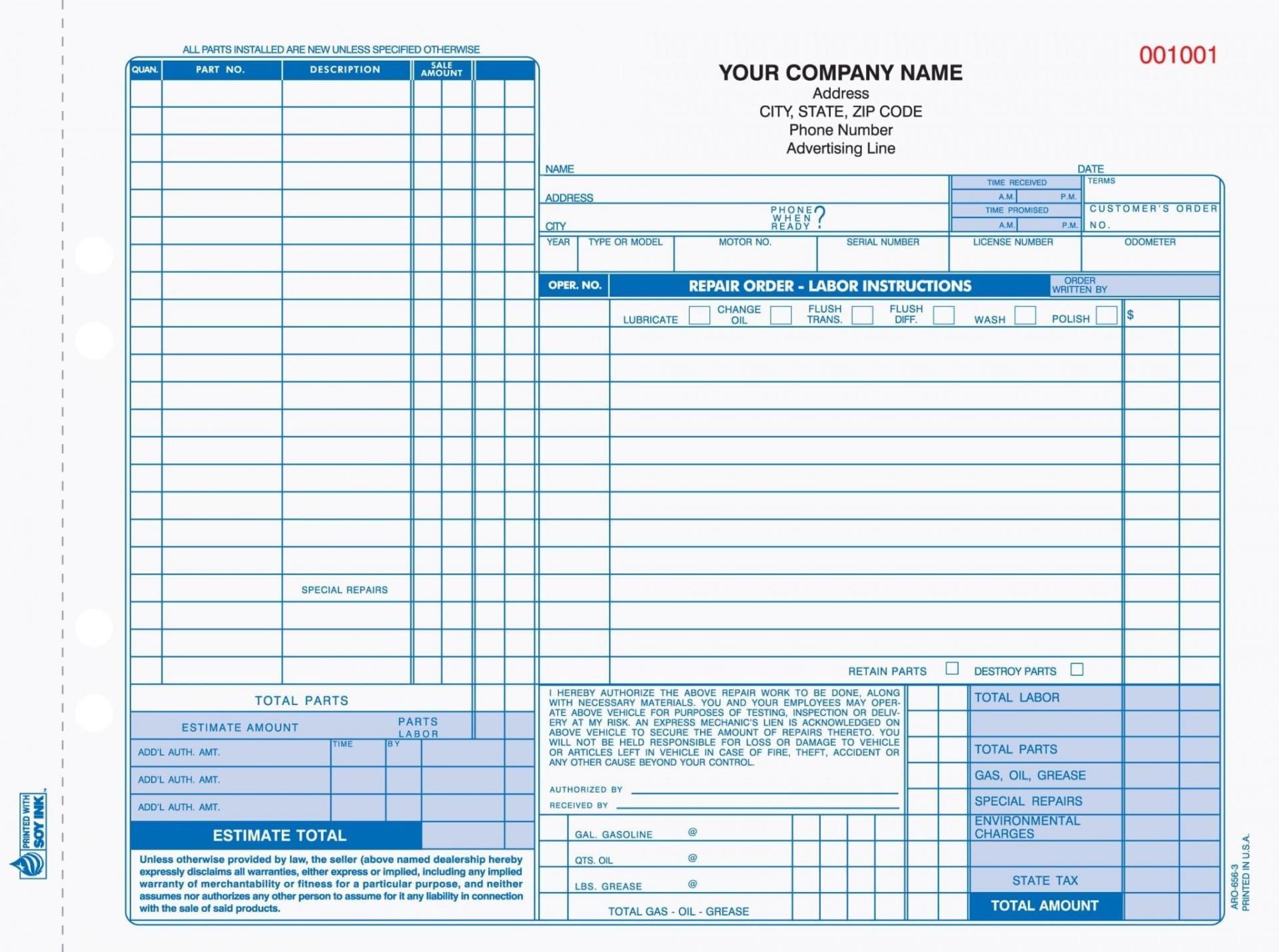 003 Magnificent Automotive Repair Invoice Template Sample  Free Auto Pdf Car Form1920