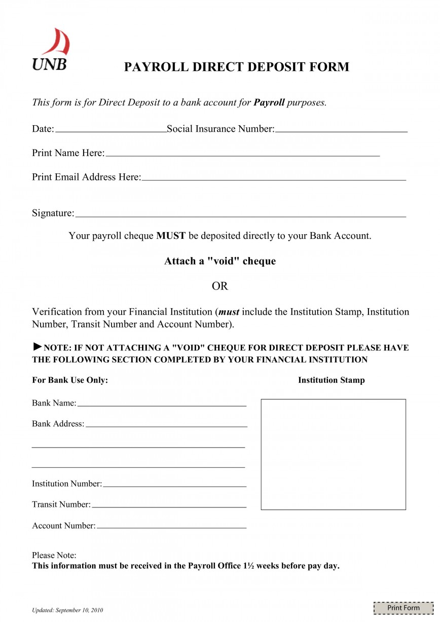 003 Magnificent Direct Deposit Form Template High Definition  Ach Authorization Payroll Canada Request