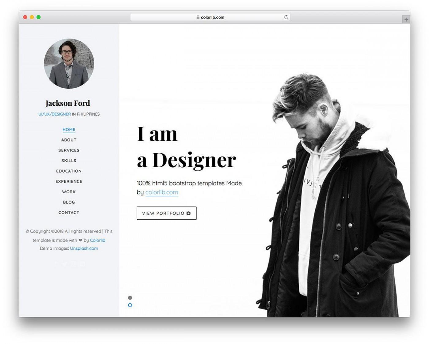 003 Magnificent Personal Website Template Bootstrap Design  4 Free Download Portfolio1400