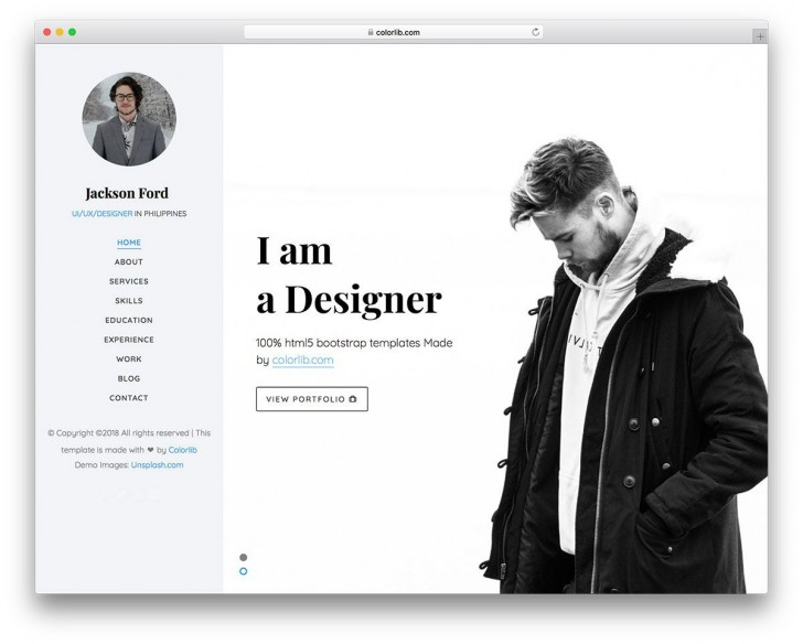 003 Magnificent Personal Website Template Bootstrap Design  4 Free Download Portfolio728