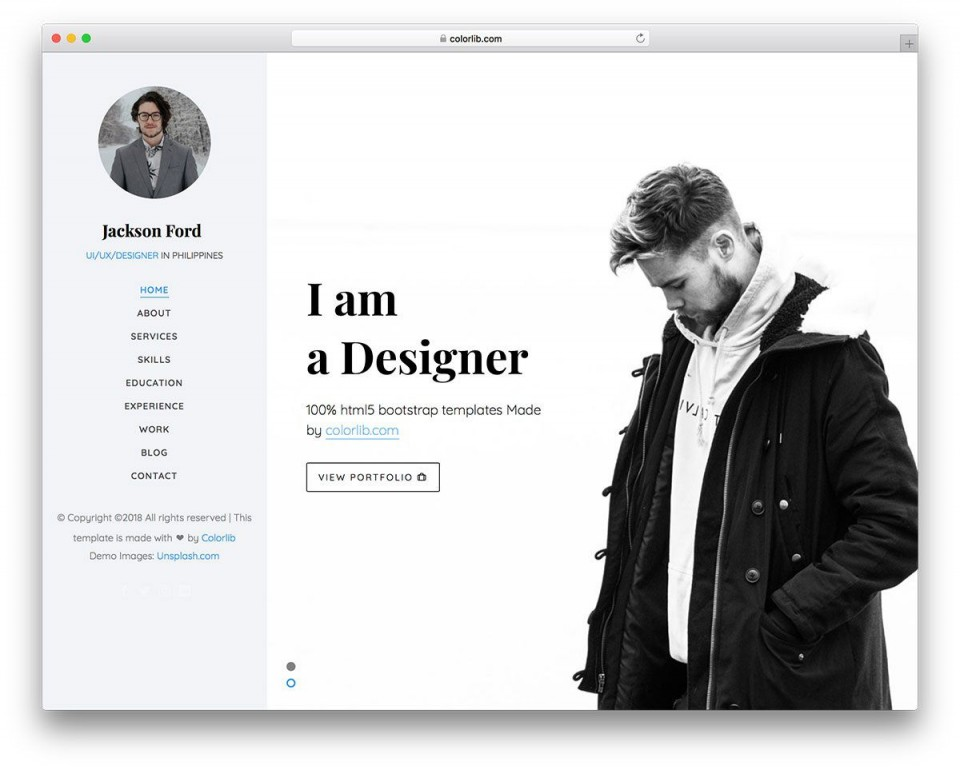 003 Magnificent Personal Website Template Bootstrap Design  4 Free Download Portfolio960
