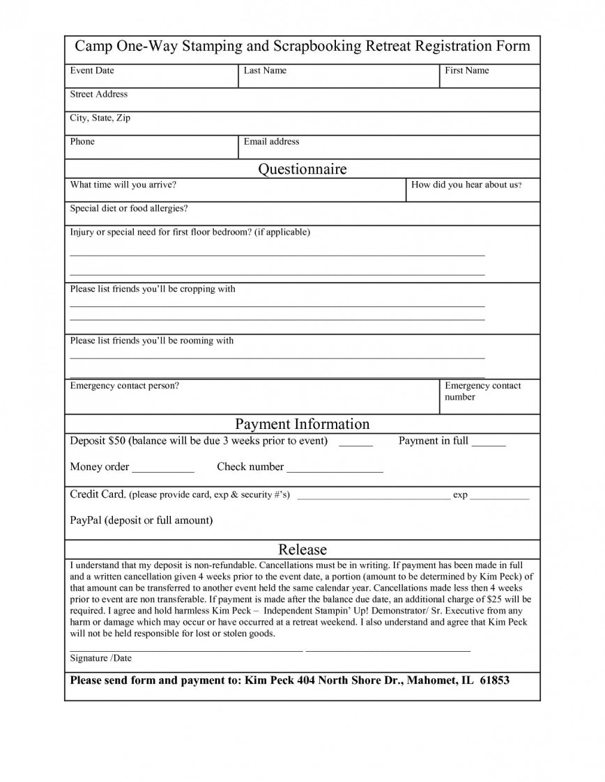 003 Magnificent Registration Form Template Word Concept  Conference Free In