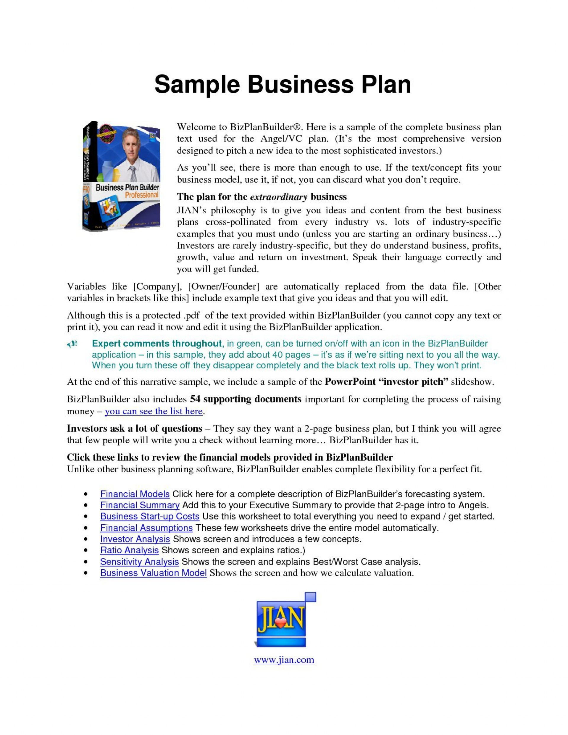 003 Magnificent Simple Busines Plan Template Word Example  Microsoft Sample1920